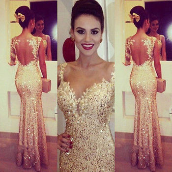Women Long Beaded Formal Prom Bridal Dress