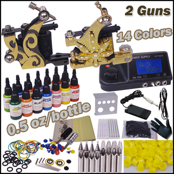 Tattoo Kit  2 Machines 14 Color Inks Led Power Supply CD Needles Skin Complete Permanent Body Art Tool Set for Body Painting