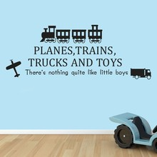 New arrival Planes Trains Trucks And Toys Wall  Art Decals Vinyl Stickers Boy Mural DIY For Kids Room Bedroom