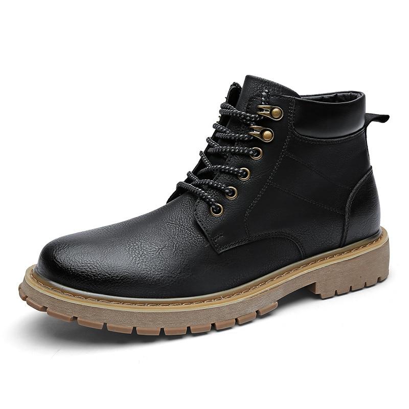 Noir Brun Hommes Cuir Vintage Bottes Black Chaussures Hiver yellow En D'hiver brown dB108wxqx