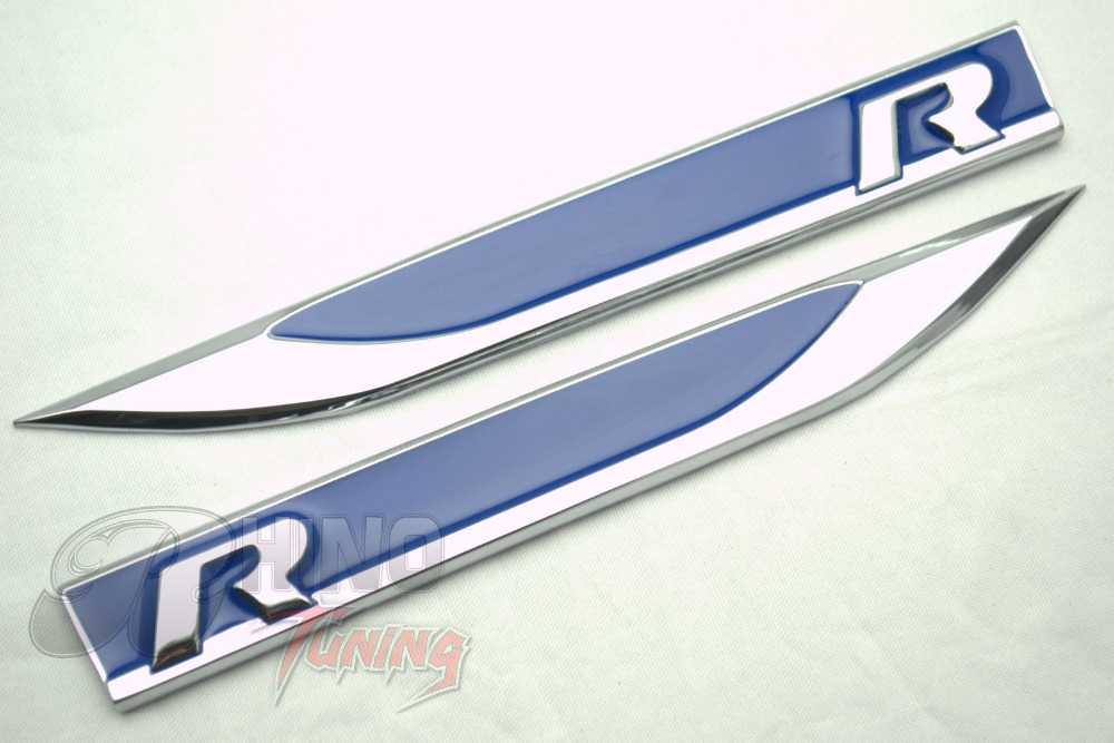 20pc r logo car side wing blue r line fender sticker for vw golf 7 6 mk5 mk6 mk7 polo passat r36 r400 r20 metal emblem 156bl on aliexpress com alibaba