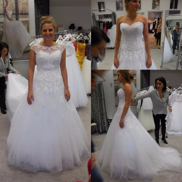Pure White Wedding Gowns Illusion Sweetheart Neckline A Line Bride Dresses With Lace Liques Long
