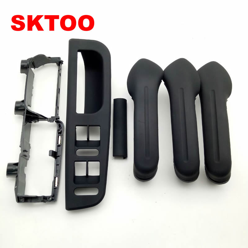 SKTOO 6Pcs /Set Black Interior Door Handle Cover Bracket Grab Bezel Trim Switch For VW Golf Gti Jetta MK4 1999-2005 3B1867171E beler car grey interior dome reading light lamp itd 947 105 fit for vw golf jetta mk4 bora 1999 2004 passat b5 1998 2005