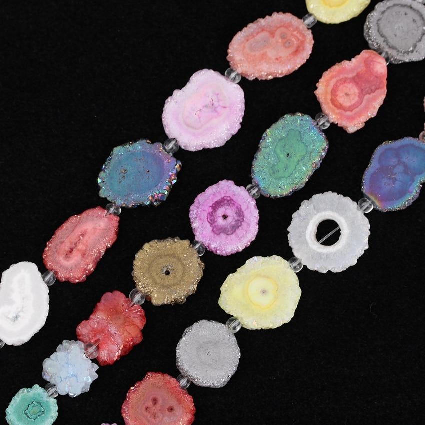 Aprox Pces Strand Facted Colorido Natural Sol Flor Druzy Ágata Fatia Pulseira Pedra Pingente Jóias Xfx-156amce 9 –