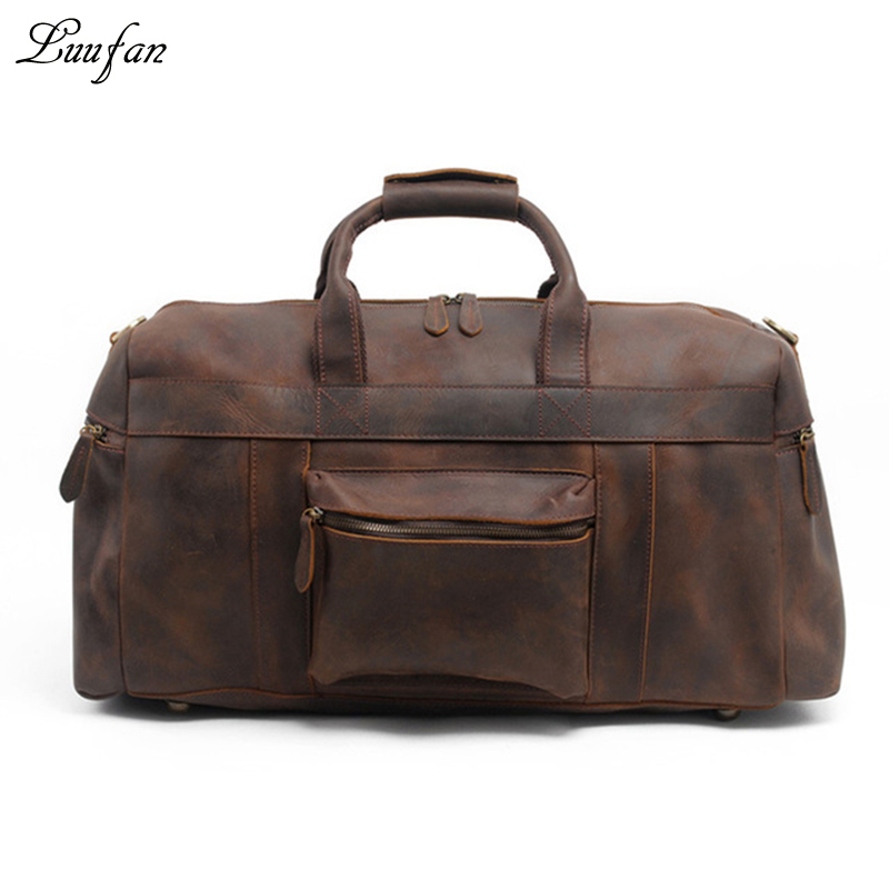 bebf35d80a Men s Crazy horse leather travel duffel 24 inch Brown genuine leather  travel bag Big vintage cow leather Boston Weekend tote bag