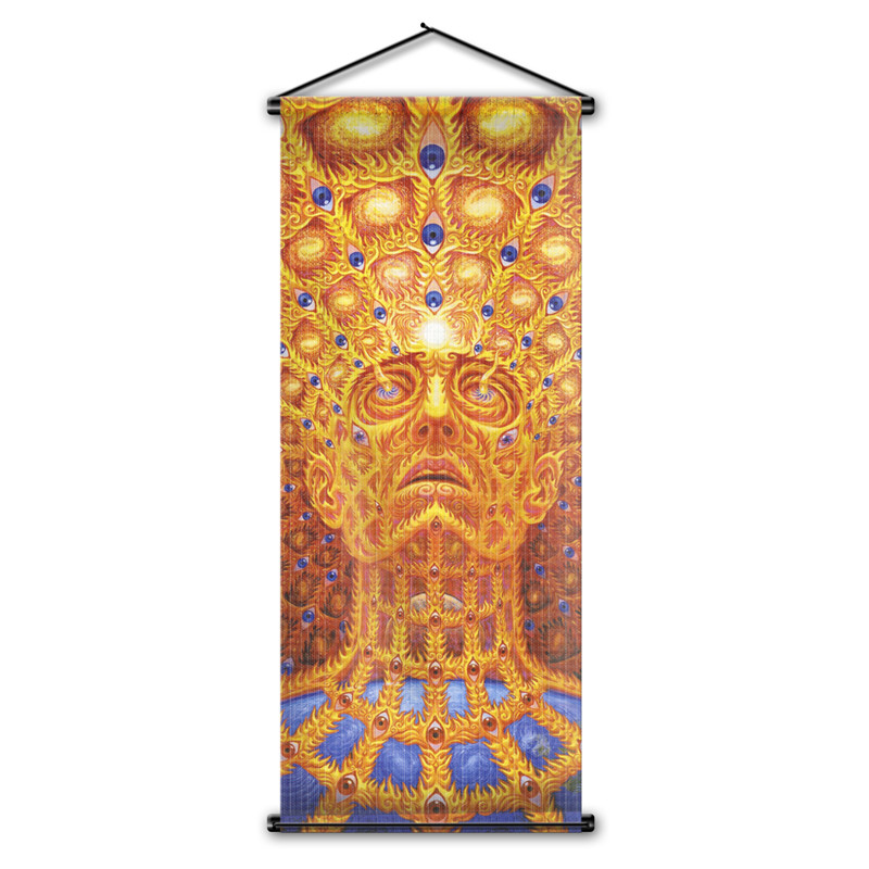 Home Decor Collection Here Alex Grey Trippy Psychedelic Art Printing Wall Decor Flag Hanging Poster Oversoul Buddhism Earth Scroll Banner Flag 18x43 Inch Attractive And Durable Flags, Banners & Accessories