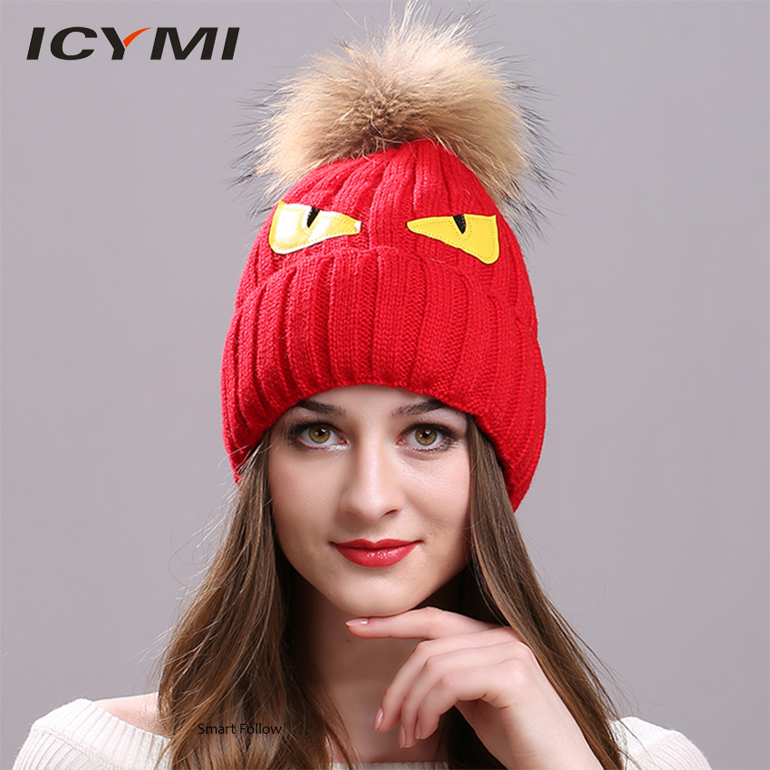 ICYMI Fashionable Autumn Cap Women Natural Raccoon Fur Pompom Bonnet Femme Caps Women's Knitted Hats Female   Skullies     Beanies