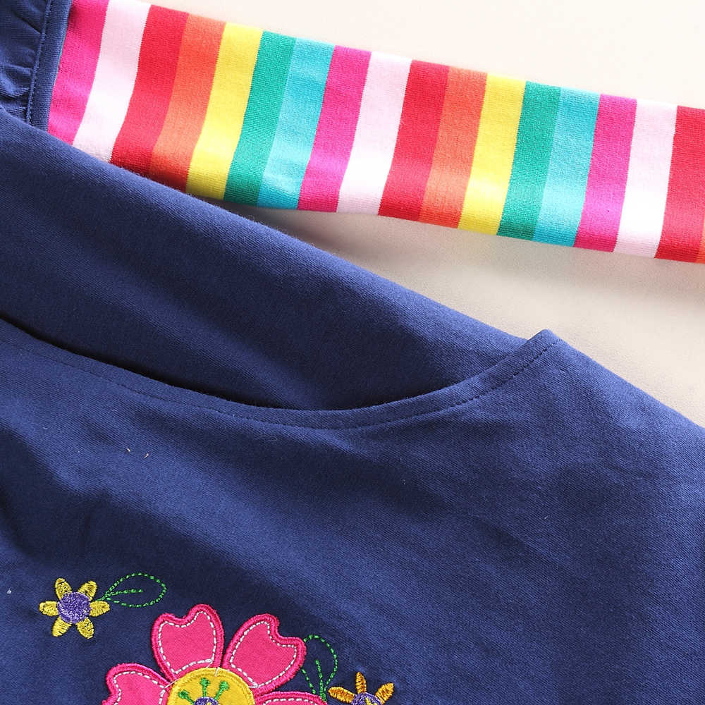 JUXINSU Pamuk Kız Çiçek uzun kollu elbise Gökkuşağı Kollu Sonbahar Kış rahat giyim için Bebek Kız 1-8 Yıl