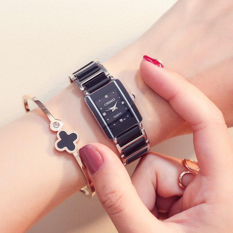 CHENXI Frauen Uhren Schwarzer Keramik Quarz Armbanduhren für Männer frauen Liebhaber Uhren Mode Armband Damenuhr reloj mujer