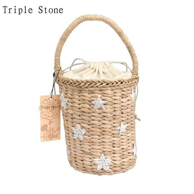 Тройной камень бисером вышивка ведерко Соломенная Сумка повседневная женская Соломенная Ткань пляжная сумка свежий Девушки Drawstring Tote Сумки