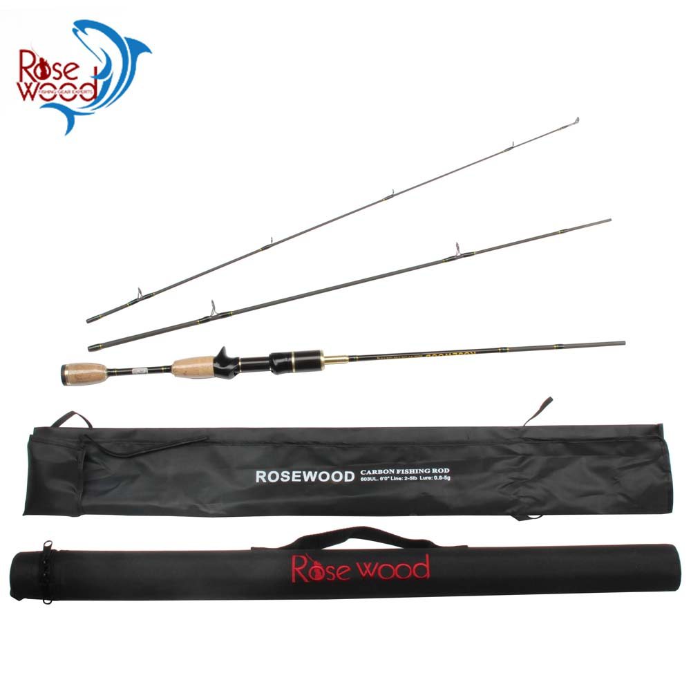 3 Section ROSEWOOD 0.8-5g Lure Weight UL Spin Casting Rod With Tube Lightweight Ultra Light Trout Rods Split Grip Cork Handles