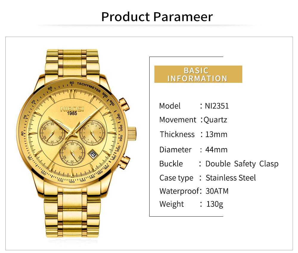 Relogio Masculino NIBOSI Quartz Watches Men Steel Band Men Watches 2018 Luxury Brand Waterproof Wrist Watches For Men Brand Saat (3)