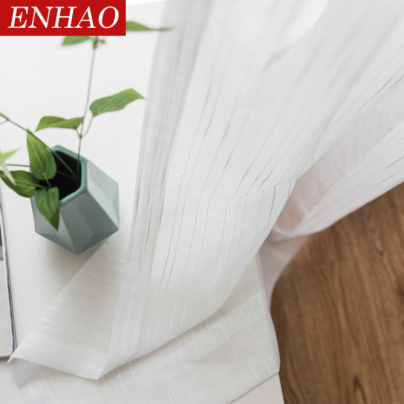 ENHAO Soft White Tulle Curtains For Living Room Japan Style Voile Sheer Window Curtain For Bedroom Dinning Room Customized Ma'de