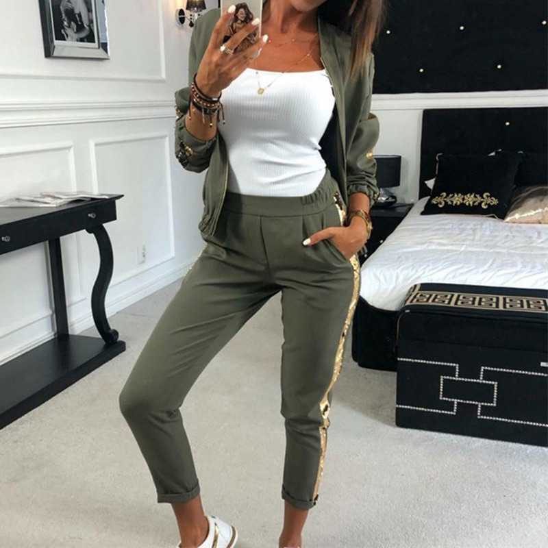 Tracksuit Two-Piece-Set Streetwear Long-Sleeve Side-Sequined Sports Women Zipper