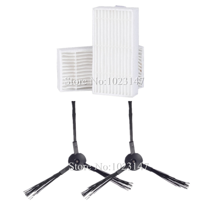 2x Robot Vacumm Cleaner side Brush and 2x Hepa Filter Replacement For chuwi ilife V5 CW310 V5 PRO V3 V3