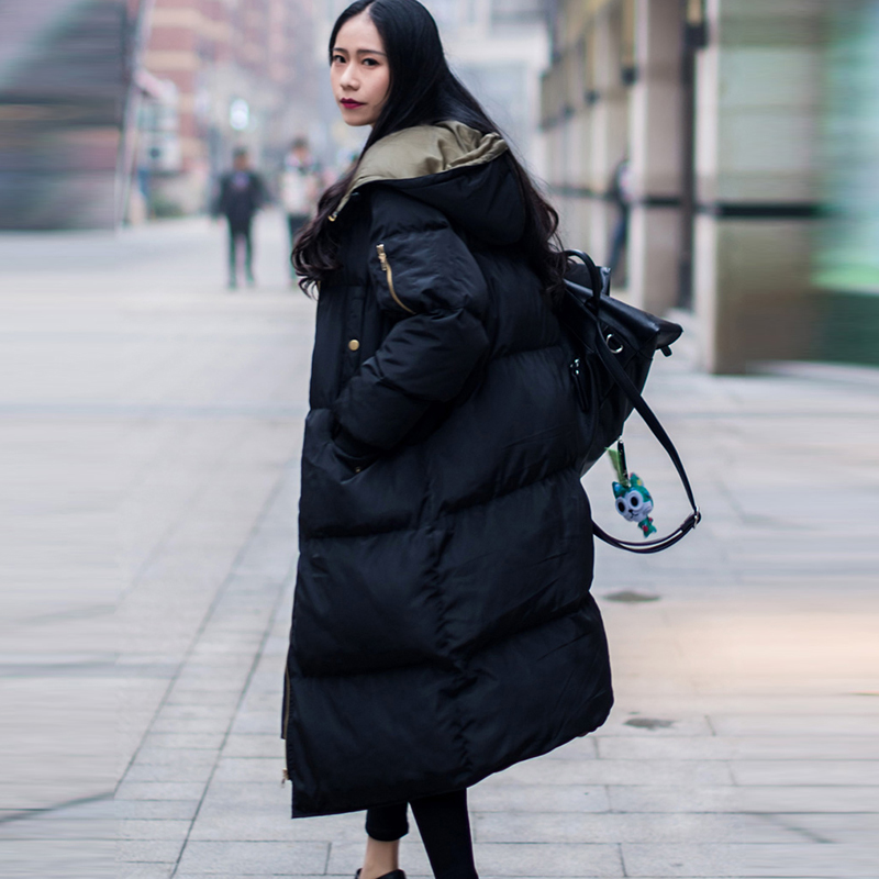 Plus Size 3XL Winter Female Jackets 2017 Women Long Parkas Thick Hooded Loose Female Jackets Winter Warm Cotton Coats Overcoat winter 2014 women thick hooded cotton padded coats patchwork letters slim zipper overcoat female plus size long parkas 3xl e782