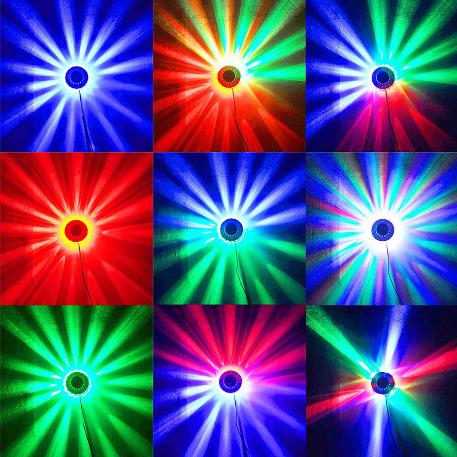 Image 5 - Mini 48 LEDs 8W RGB Sunflower Laser Projector Lighting Disco Stage Light Bar DJ Sound Background Wall Light Christmas Party Lamp-in Stage Lighting Effect from Lights & Lighting on