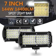 1pcs 7 inch 144W LED Bar Car Spot Flood Off Road LED Light Bar Working Light for Truck Roof ATV 6000K цена 2017