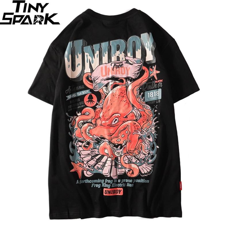 2019 Harajuku   T     Shirt   Octopus Men Hip Hop   T  -  Shirt   Streetwear Summer Cotton Tshirt Short Sleeve Print Black Tops Tees Street Wear