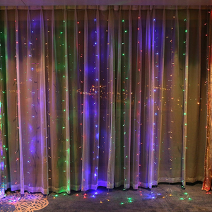 Image 4 - 3X3M 300 LED Solar Curtain String Lights Waterproof 8 Modes Outdoor Garden Patio Decorations lights for Wedding Party Christmas