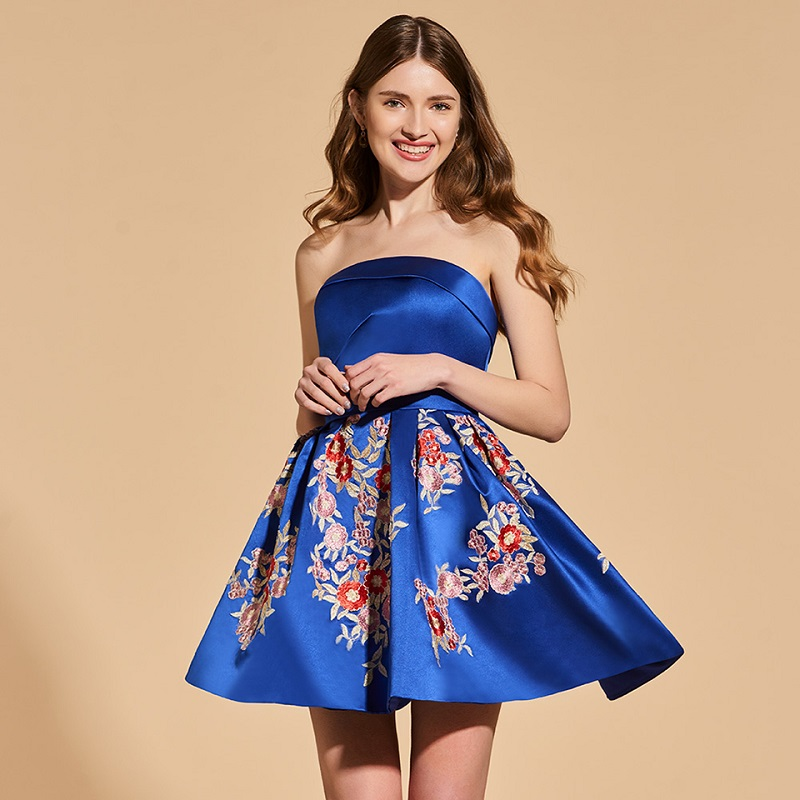 Tanpell strapless   cocktail     dresses   dark blue sleeveless above knee a line   dress   women party customed appliques   cocktail     dress