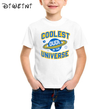 Baby And Toddler Boys Short Sleeve Coolest Dude In The Universe Graphic Tee Boys/Girls Cute Tops Tees Kids Summer Casual Clothes