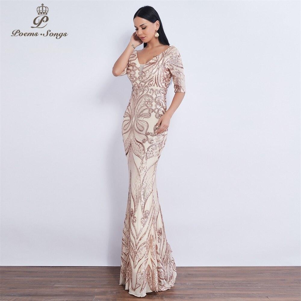 Image 2 - New Half sleeve Butterfly style Sequin mermaid Evening dress vestido de festa  Party dress robe de soiree butterflies prom dress-in Evening Dresses from Weddings & Events