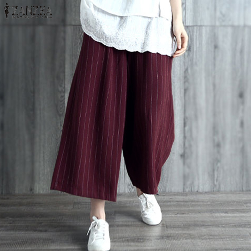 2019 Plus Size ZANZEA Harem   Pants   Women Elegant Striped Long   Wide     Leg     Pants   Casual Elastic Waist Cotton Loose Trousers Pantalon