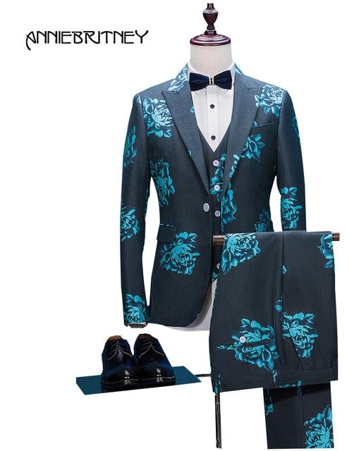2018 Latest Coat Pant Designs Black Charcoal Floral Formal Men Suit