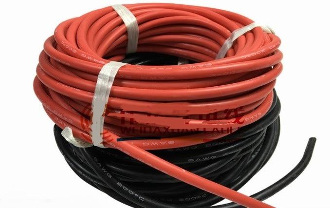 2 #/4 #/6 # AWG AWG. Silikonkautschuk Draht Kabel. schwarz. rot ...