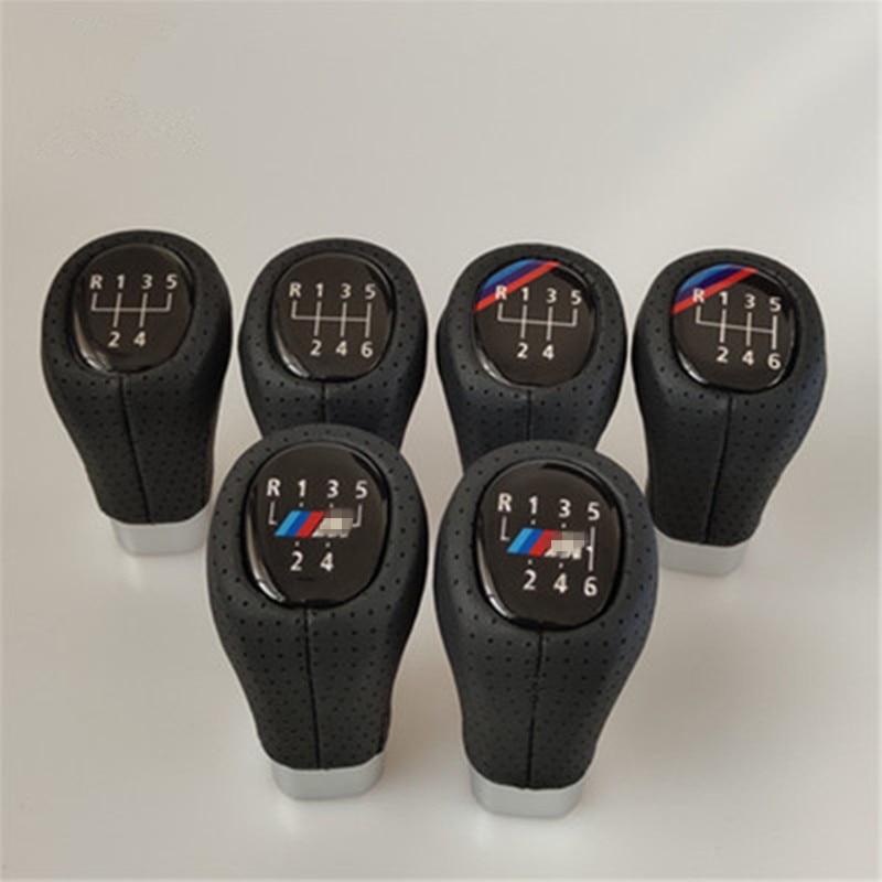 5 6 velocidade PU de Couro Da Shift de Engrenagem Knob Shifter Lever Knob Cabeça Para BMW 1 3 5 6 Série E36 e38 E39 E46 E53 E60 E61 E63