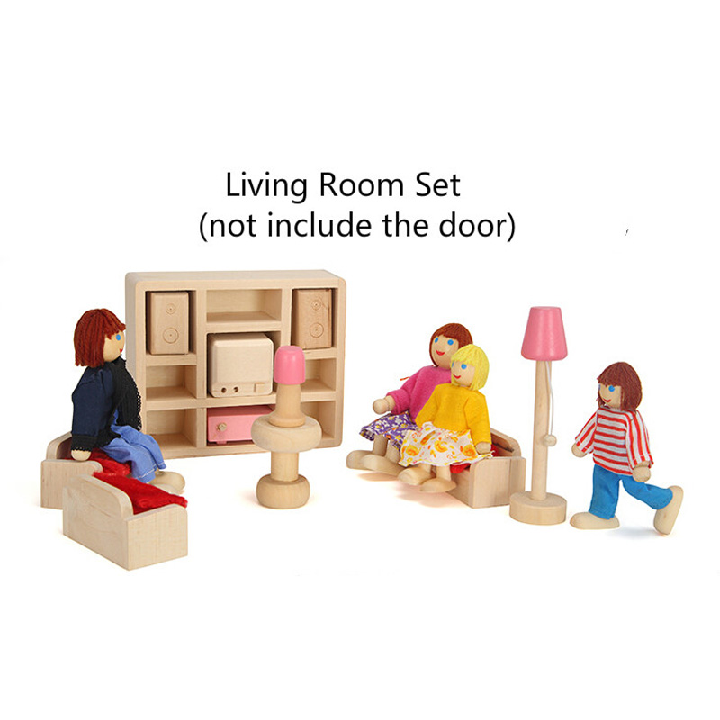 wooden miniature doll houses furniture kids toys bedroom
