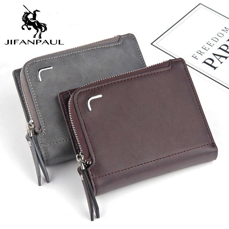 Men's Wallet Classic Short Coin-Purse Zipper-Bag Multi-Card Fashion Large-Capacity Retro