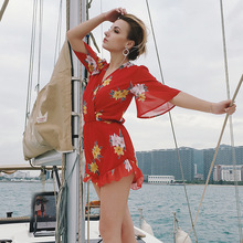 Floral Print Summer Chiffon Red Jumpsuit V-neck Ruffled Short-sleeved Bohemian Seaside Holiday Beach Womens Printed Clothes F4
