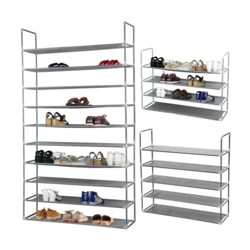 Marvelous 50 Pairs 10 Tier Space Saving Storage Organizer Free Standing Shoe Tower  Rack (Gray)