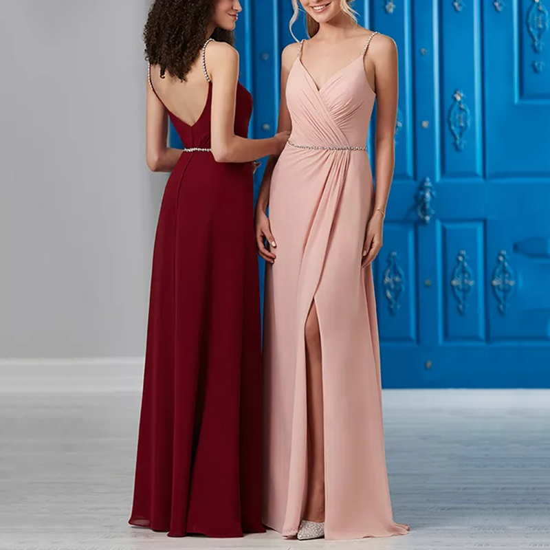 Trust LinDa Sexy V-neck Side Slit Long   Bridesmaid     Dresses   Spaghetti Straps Long Party Wear   Dress   Prom Gowns 2018 Robe de Soiree