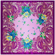 Bohemia Caju Flores Moda Lenço Quadrado 90 cm Mulheres Lenços Acessórios da Menina Jovem Presente Silk Sentindo Roupas Combinando 90FJ5