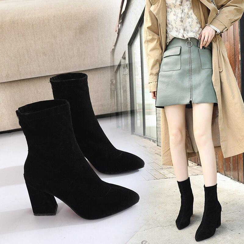 Bottes pointues à bout peu profond et à talons hauts pour femme, chaussures confortables, décontractées et polyvalentes, nouvelle collection hiver 2020, x02
