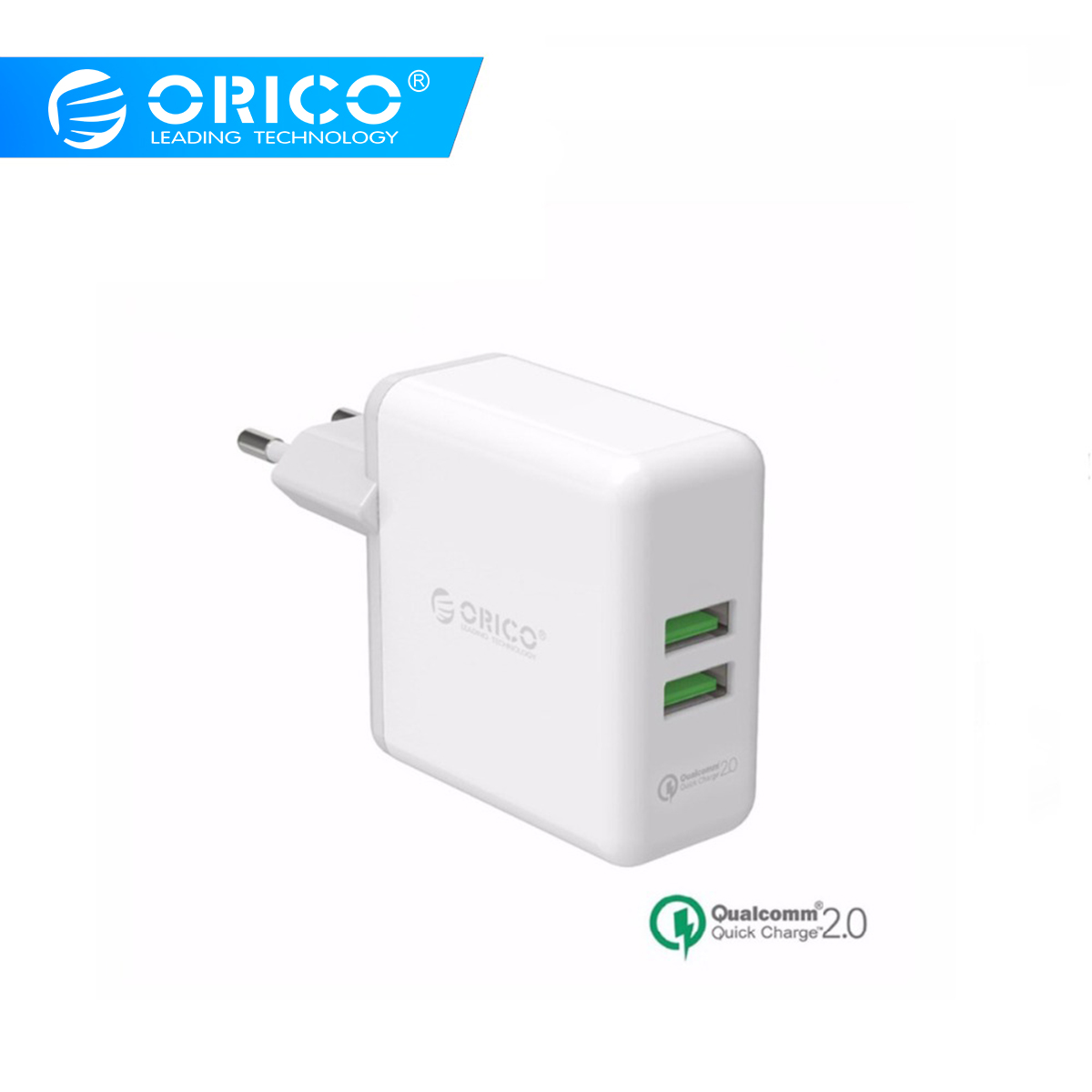 ORICO USB Quick Charger QC2.0 Dual Ports Wall Charger 36W Mobile Phone Charger for Apple Samsung Xiaomi Huawei Portable WhiteORICO USB Quick Charger QC2.0 Dual Ports Wall Charger 36W Mobile Phone Charger for Apple Samsung Xiaomi Huawei Portable White