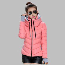 Snow wear wadded jacket female 2017 autumn winter jacket women slim short cotton-padded jacket outerwear winter coat women Q356