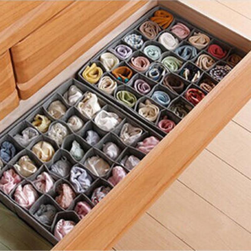 Storage Box Charcoal Organizer 30 Grid Slots Wardrobe Non-woven Fabric Drawer Divide Foldable Design Organizer(China)