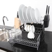 Kitchen Dish Rack 2 Tier Black Dish Drainer Drying Rack Washing Organizer Large Capacity Holder