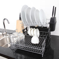 Kitchen Dish Rack 2 Tier Black Dish Drainer Drying Rack Washing Organizer Large Capacity Holder