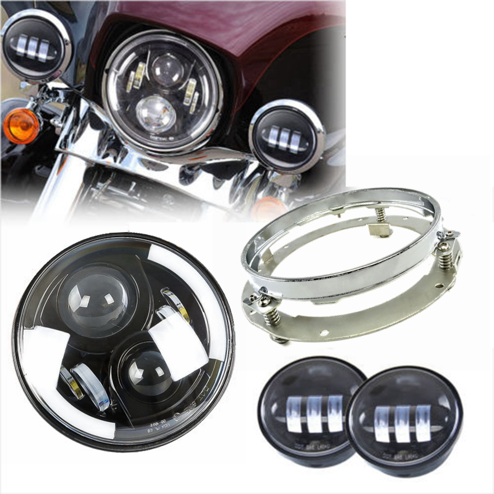 7inch LED Headlight & 7'' Bracket Ring Auxiliary Spot Fog Lapms For Harley