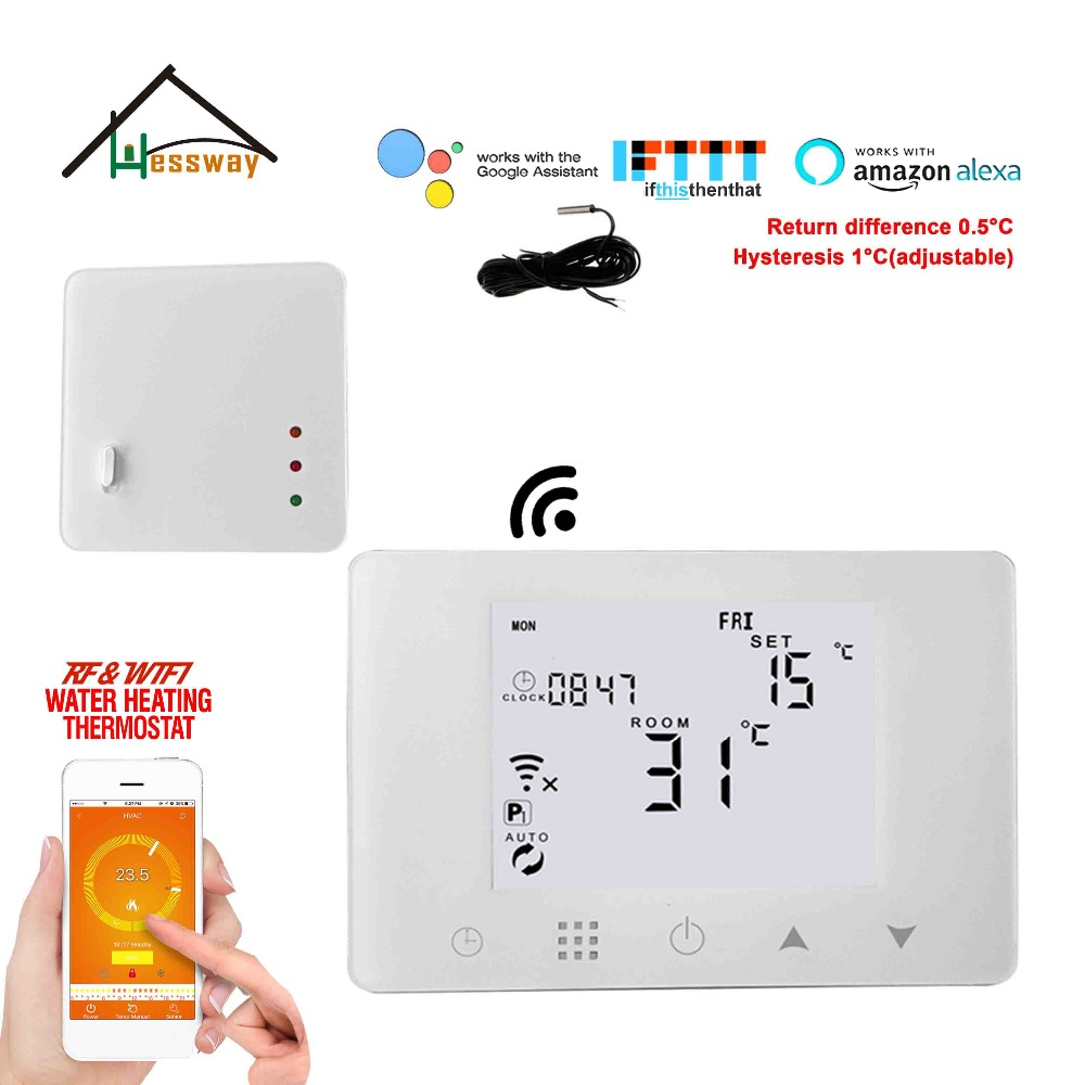NC/NO Water valve,Electric actuator APP WIFI&RF wireless thermostat water floor heating for Works with Alexa Google home