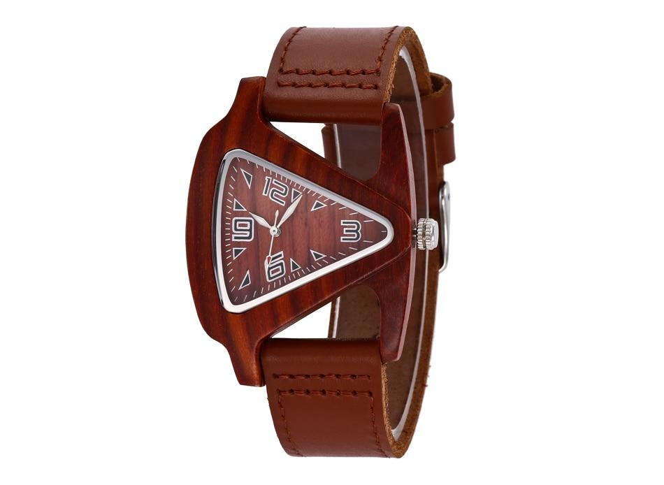 ALK leather strap female male wooden wristwatch 36