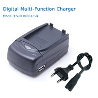 LVSUN Multi Function Digital Camera Camcorder Battery Car Charger With USB Port EU Plug Power Cord