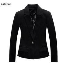 2017 women slim autumn blazer long sleeve one botton casual  women solid blazer cotton spandex Jacket Coat office wear plus size