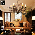 Кантри деревня черный кованого железа Хрустальное дерево ветка свеча люстра из трубок для отеля бар отеля столовой