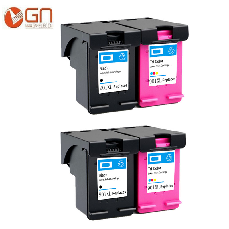 GN 4PK <font><b>901</b></font> Cartridge Replacement for <font><b>HP</b></font> <font><b>901</b></font> <font><b>XL</b></font> 901XL Ink Cartridge for Officejet J4500 J4540 J4550 J4580 J4640 J4680c printer image